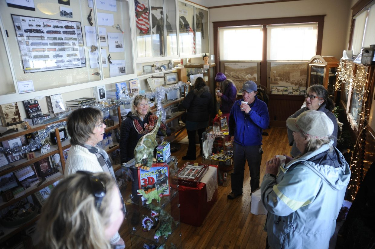 Residents visit the Hayden Heritage Center on Saturday during the Holiday Stroll.