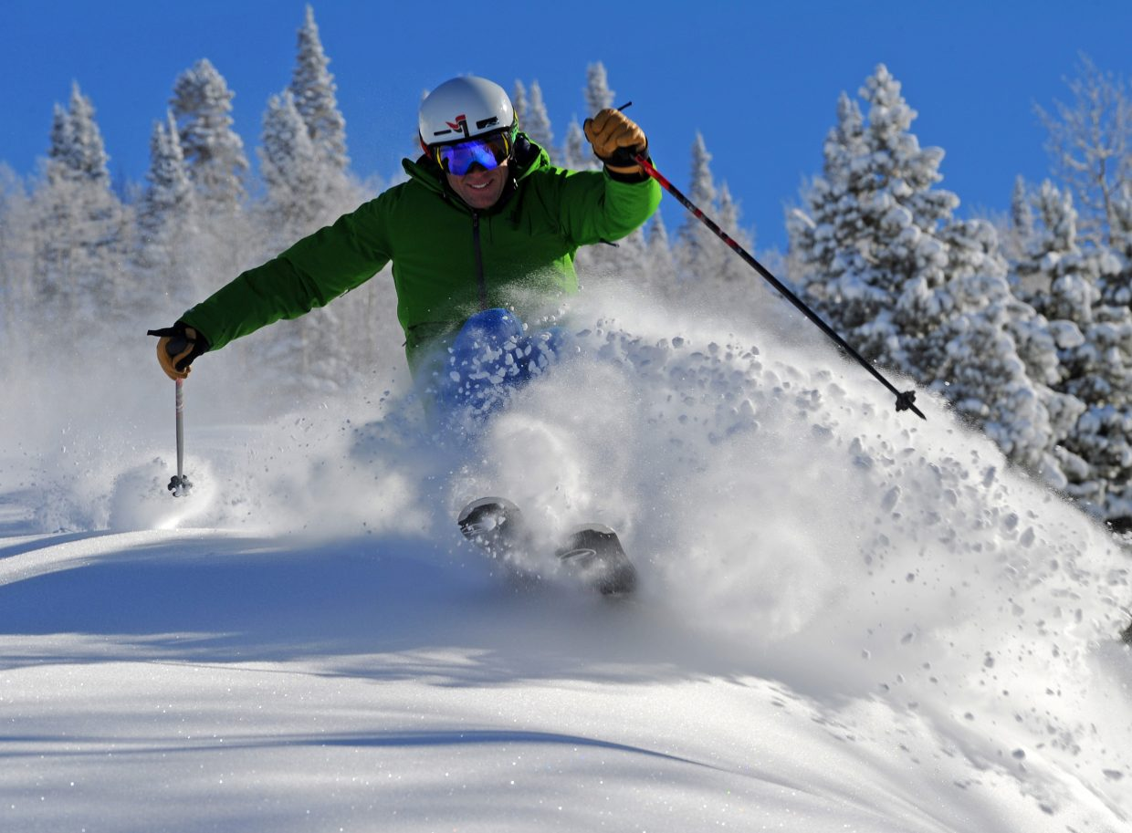 Skier Nelson Carmichael tests the conditions on Westside on Thursday afternoon at Steamboat Ski Area. Accessed by the Storm Peak Express lift, trails in the Priest Creek area — including lower portions of One O'Clock, Two O'Clock, Three O'Clock, Rolex and Westside — along with the Elkhead lift will open Friday. Snowmaking still is ongoing on Spur Run, Huffman's and Moonlight, and Lower Shadows in addition to those trails will remain closed.