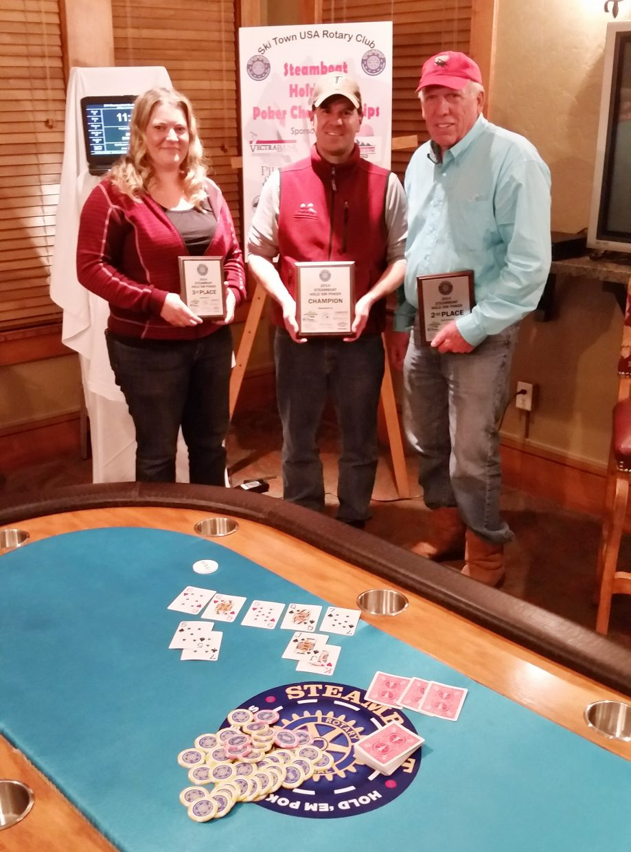Scott Colby, center, won the second annual Steamboat Poker Hold 'Em Championships, an event hosted by Ski Town USA Rotary Club. The event drew 32 players who tried to win a $1,500 first-place prize. Colby emerged after five hours, defeating Moose Barrows, right, who finished second. Rachel Crispino finished third.