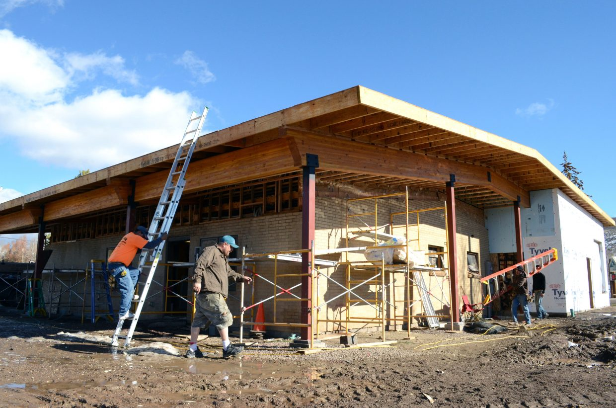 Construction workers make progress on the South Routt Medical Center's expansion project at its Oak Creek facility. An advisory group was formed recently after members of the public questioned the center's finances at a board meeting Monday.