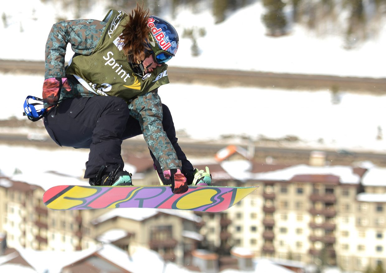 Arielle Gold flies over Copper Mountain on Saturday during the U.S. Grand Prix snowboarding half-pipe event. She finished second.