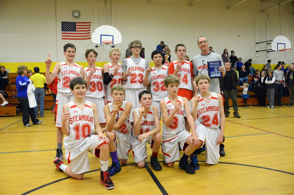 Coach Mike Campbell and the members of the Steamboat Springs Middle School seventh-grade boys basketball A-team display their ceremonial plaque and No. 1 signs after winning the district tournament Saturday in the gym of Sandrock Elementary School in Craig. The Sailors took first place after a final round win of 34-19 against Meeker.