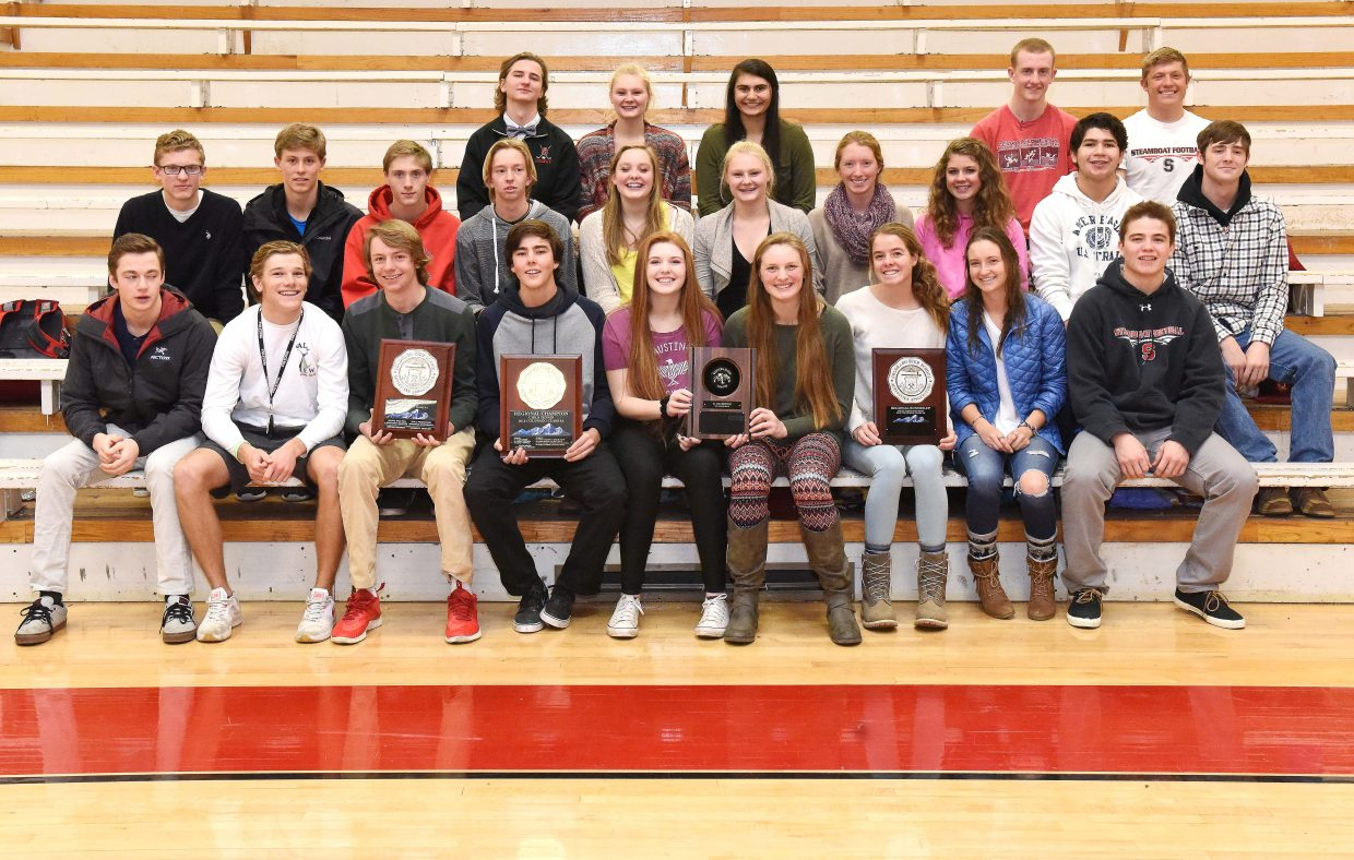 Steamboat Springs High School fall athletes celebrated a strong season posing for a photo last week. The season included a league championship from the volleyball team, a regional championship from the tennis team and a runner-up regional finish for the boys' golf team.