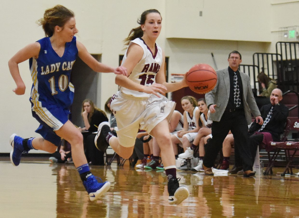 Soroco Kayla Wille pushes the ball up the court Tuesday against North Park.