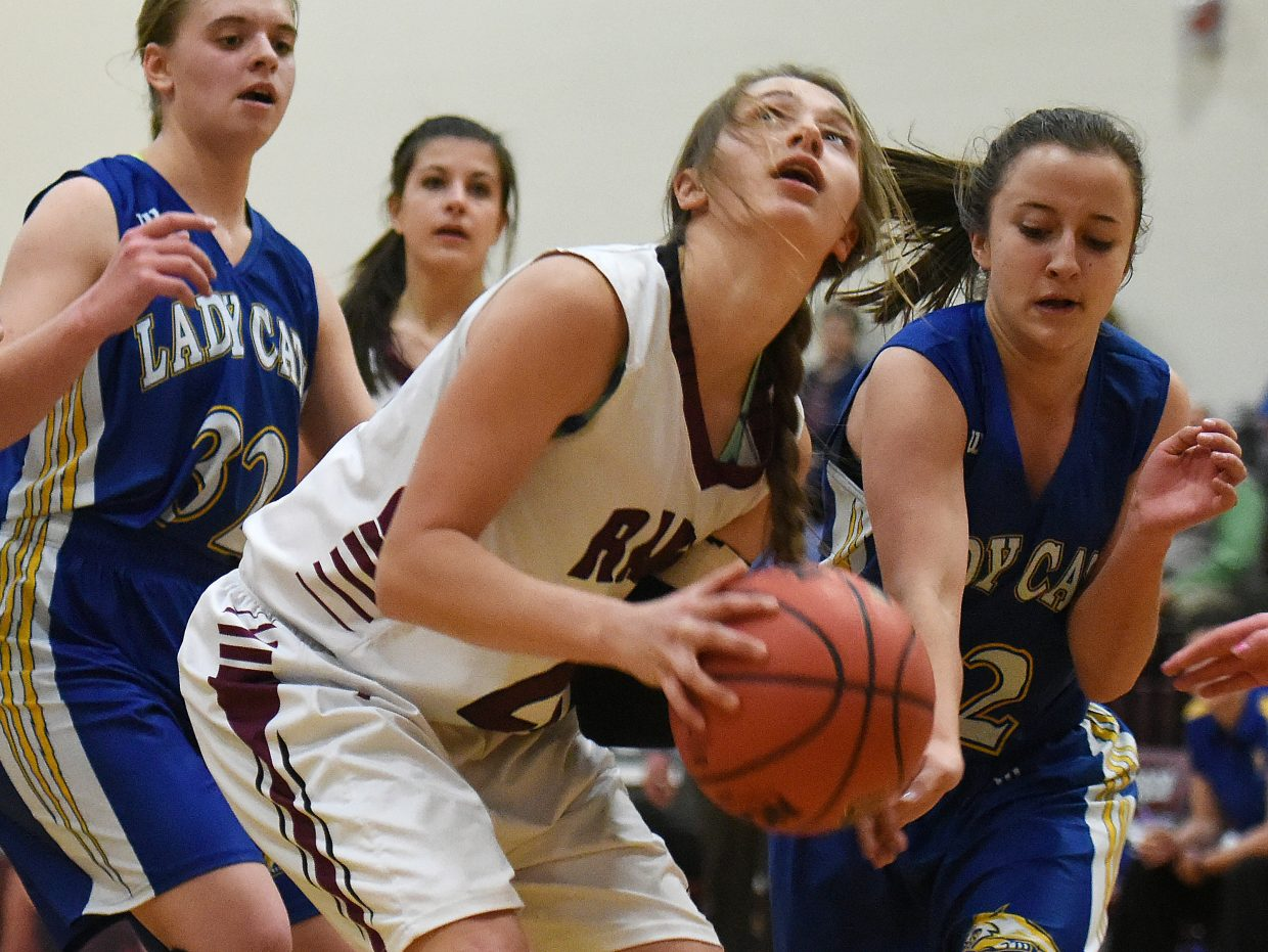 Soroco's Mattie Rossi looks to put the ball up through the defense Tuesday against North Park.