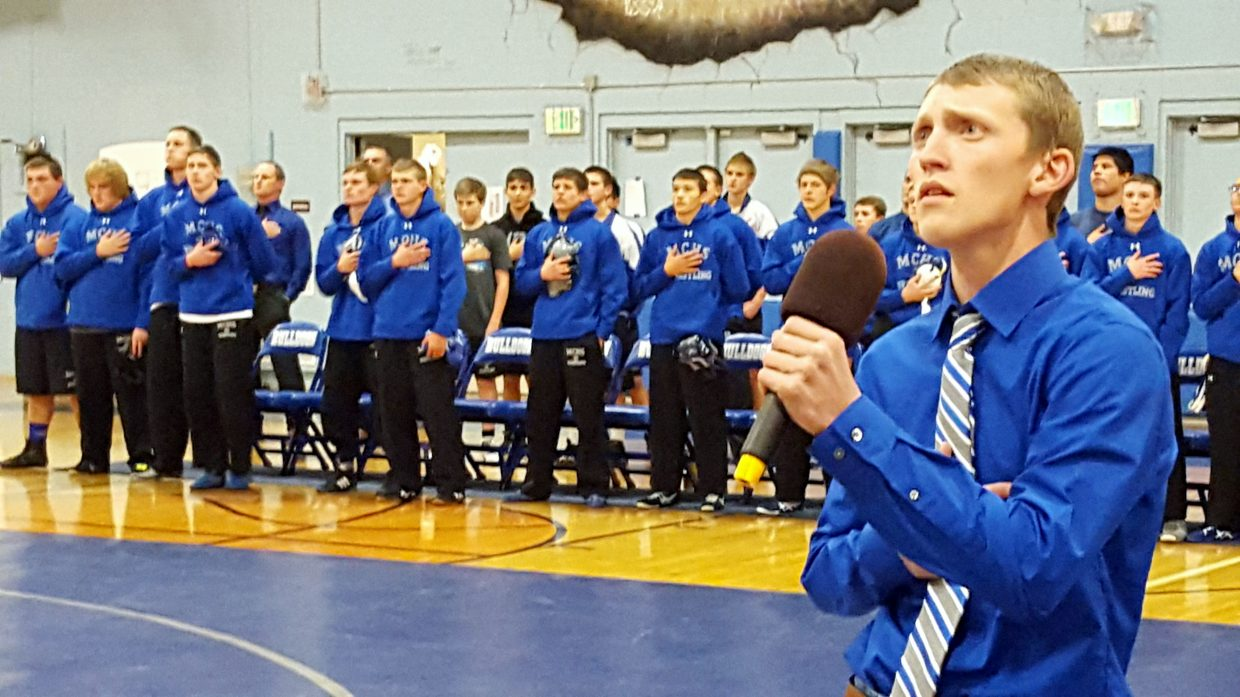 "Moffat County High School's Karson Cox performs ""The Star-Spangled Banner"" to kick off Bulldog wrestling's Tuesday home triangular with Steamboat Springs and Coal Ridge."