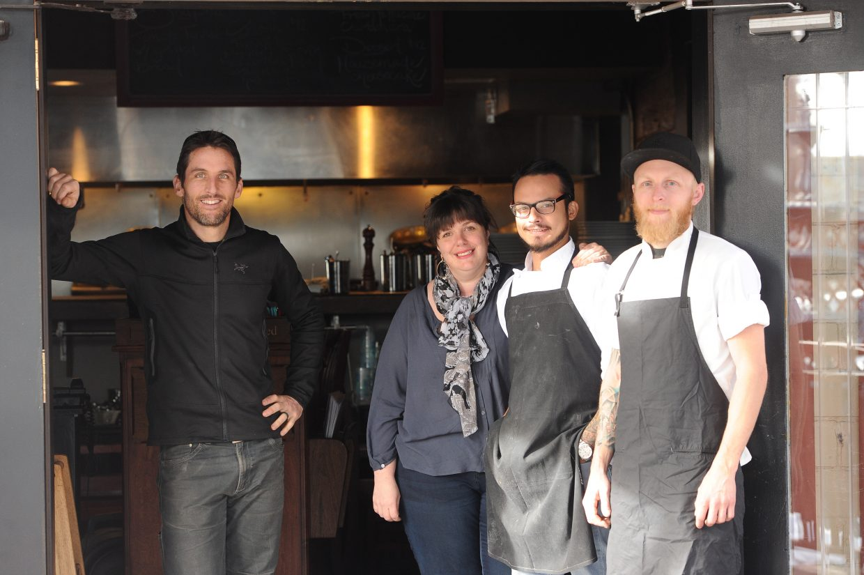 Mambo Italiano is led by, from left, owner Jeremy MacGray, owner Hannah Hopkins and chefs Fernando Maldonado and Michael Goldberg. Hopkins recently became a part owner, and the new partnership has led to a new menu and remodeled dining and bar areas.