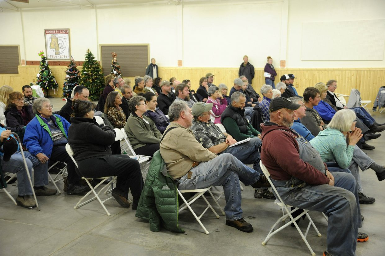 People attend a forum Monday night at the Routt County Fairgrounds Exhibit Hall in Hayden. Marijuana grow facilities were discussed during the forum, which was hosted by Steamboat Today and moderated by Editor Lisa Schlichtman.