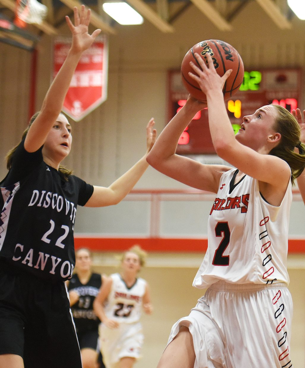 Steamboat Springs senior Raya Duryea goes up for a shot Thursday against Discovery Canyon in the first round of the Steamboat Shoot-Out tournament. Steamboat lost, 49-28. Duryea led her team with 18 points. Steamboat will play at 4:45 p.m. today against Prairie View.