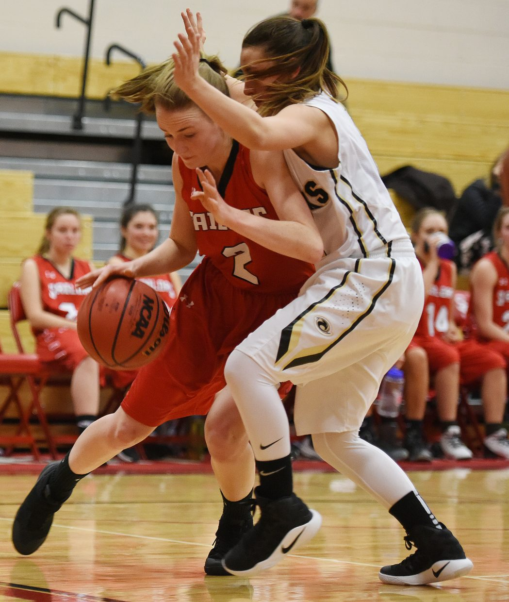 Steamboat's Raya Duryea tries to drive along the baseline Friday against Prairie View.