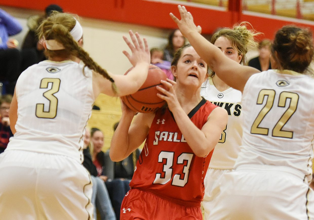 Steamboat junior Karly Lanning looks to get a shot up Friday as the Sailors battled Prairie View in the Steamboat Shoot-Out tournament. Steamboat lost the game, 65-23.