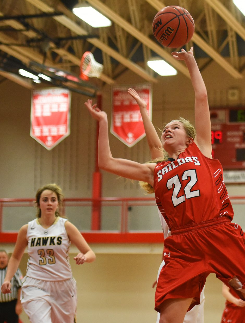 Steamboat's Erica Moos puts a shot up Friday against Prairie View.