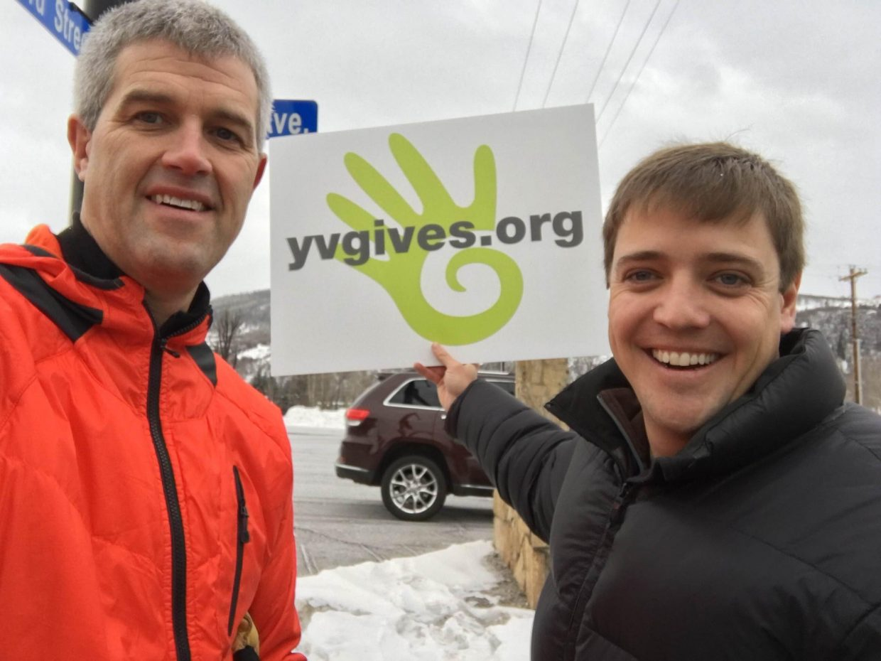 Real estate broker Jon Wade and Yampa Valley Gives board chair Glen Traylor joined other supporters on the streets of Steamboat Tuesday to drum up supports for Yampa Valley Gives Day.