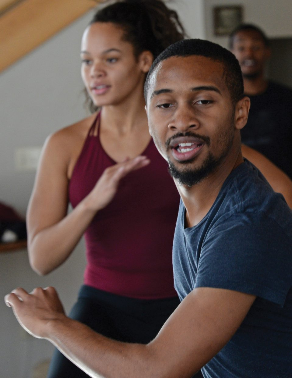 "Dancer Johnnie Mercer rehearses for Saturday night's performance of ""An Evening of Dance with Antonio Brown Dance."" The newly choreographed work based on children's books will take center stage at 7 p.m. Saturday at the Perry-Mansfield Performing Arts School and Camp."