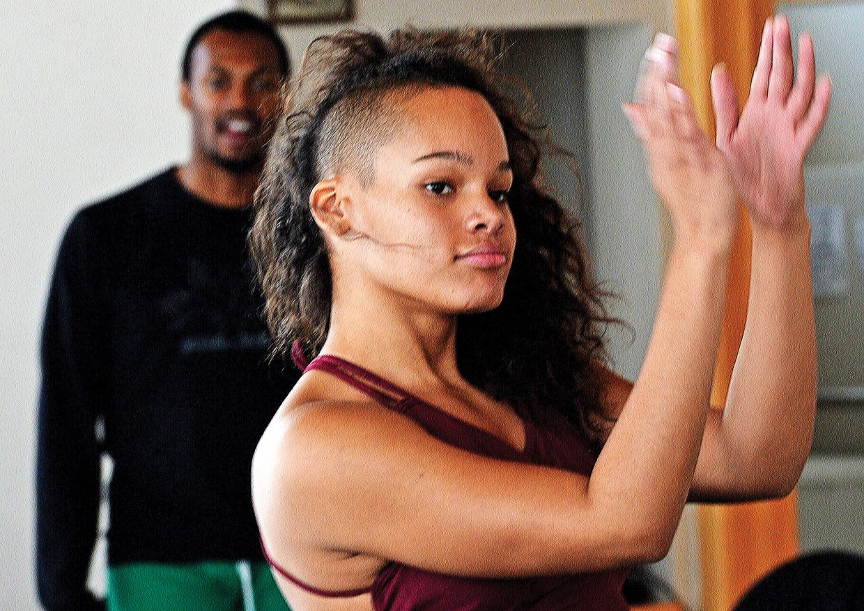 "Dancer Jacqueline Sellesky rehearses for Saturday's night's performance of ""An Evening of Dance with Antonio Brown Dance."" The newly choreographed work based on children's books will take center stage at 7 p.m. Saturday at the Perry-Mansfield Performing Arts School and Camp."