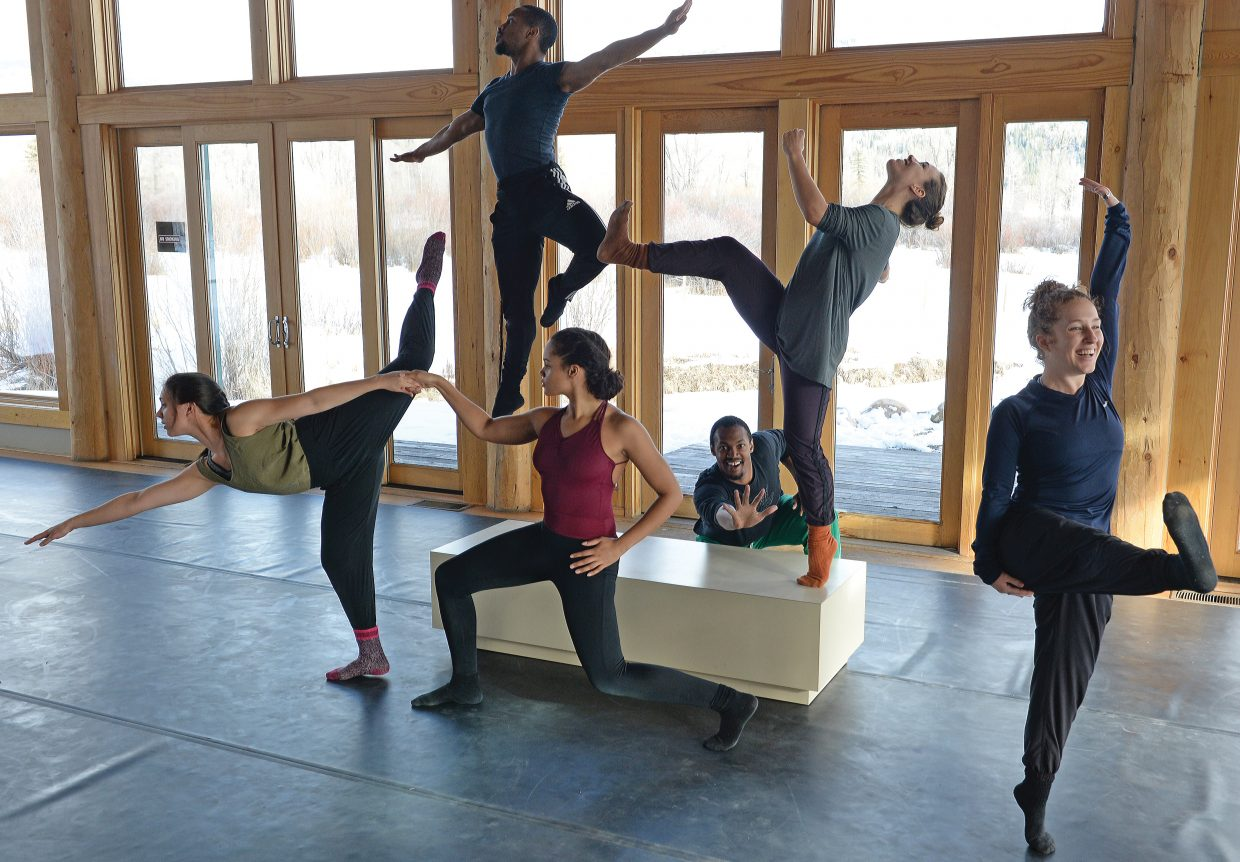 "Dancers, from left to right, Rebekah Kuczma, Johnnie Mercer (in air), Jacqueline Selesky, Antonio Brown, Elena Valls and Kaylin Horgan will be featured in ""An Evening of Dance with Antonio Brown Dance. The show will take place at 7 p.m. at the Perry-Mansfield Performing Arts School and Camp."