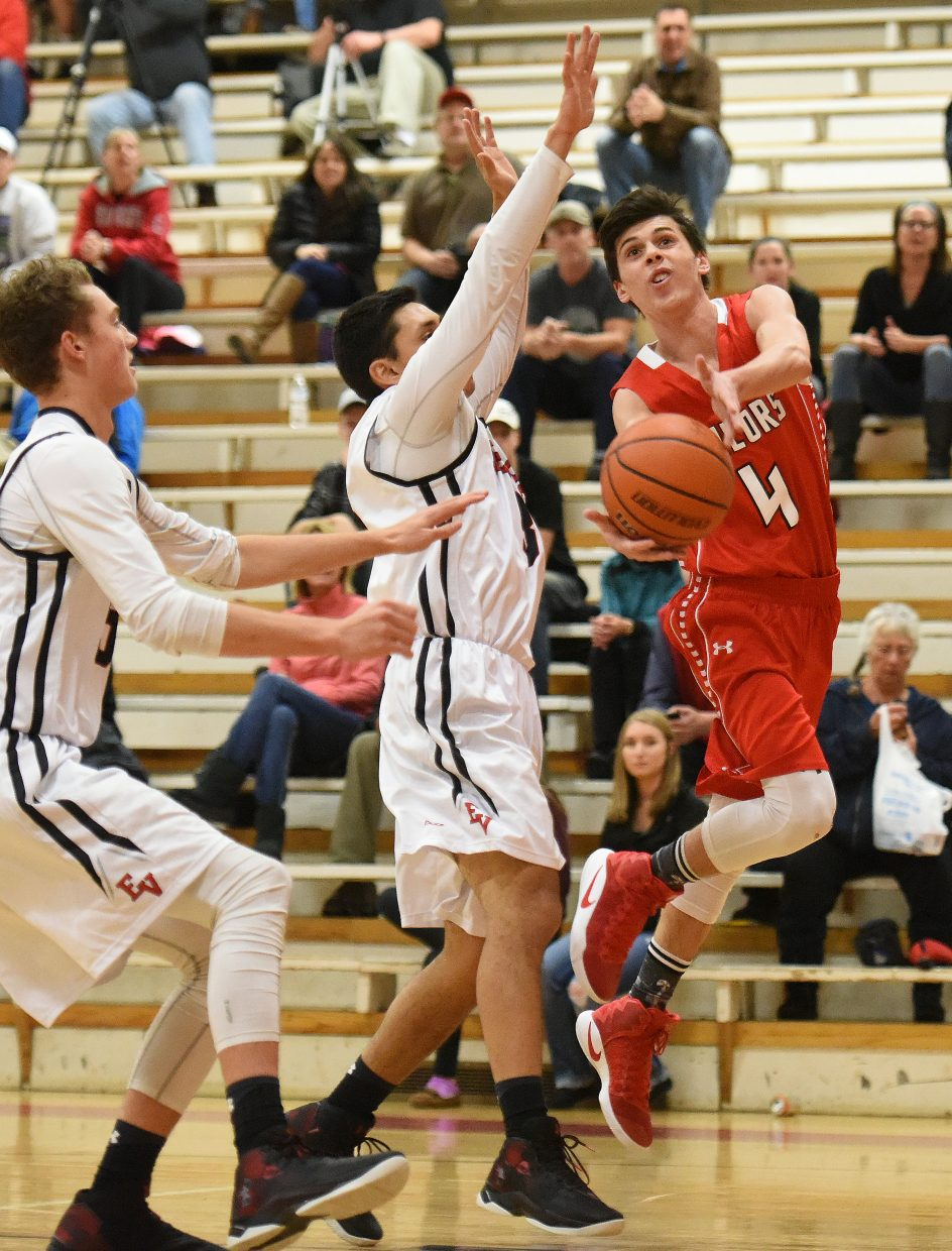 Steamboat's Jake Berry tries to flip a shot past the defense Saturday in the Steamboat Shoot-Out.