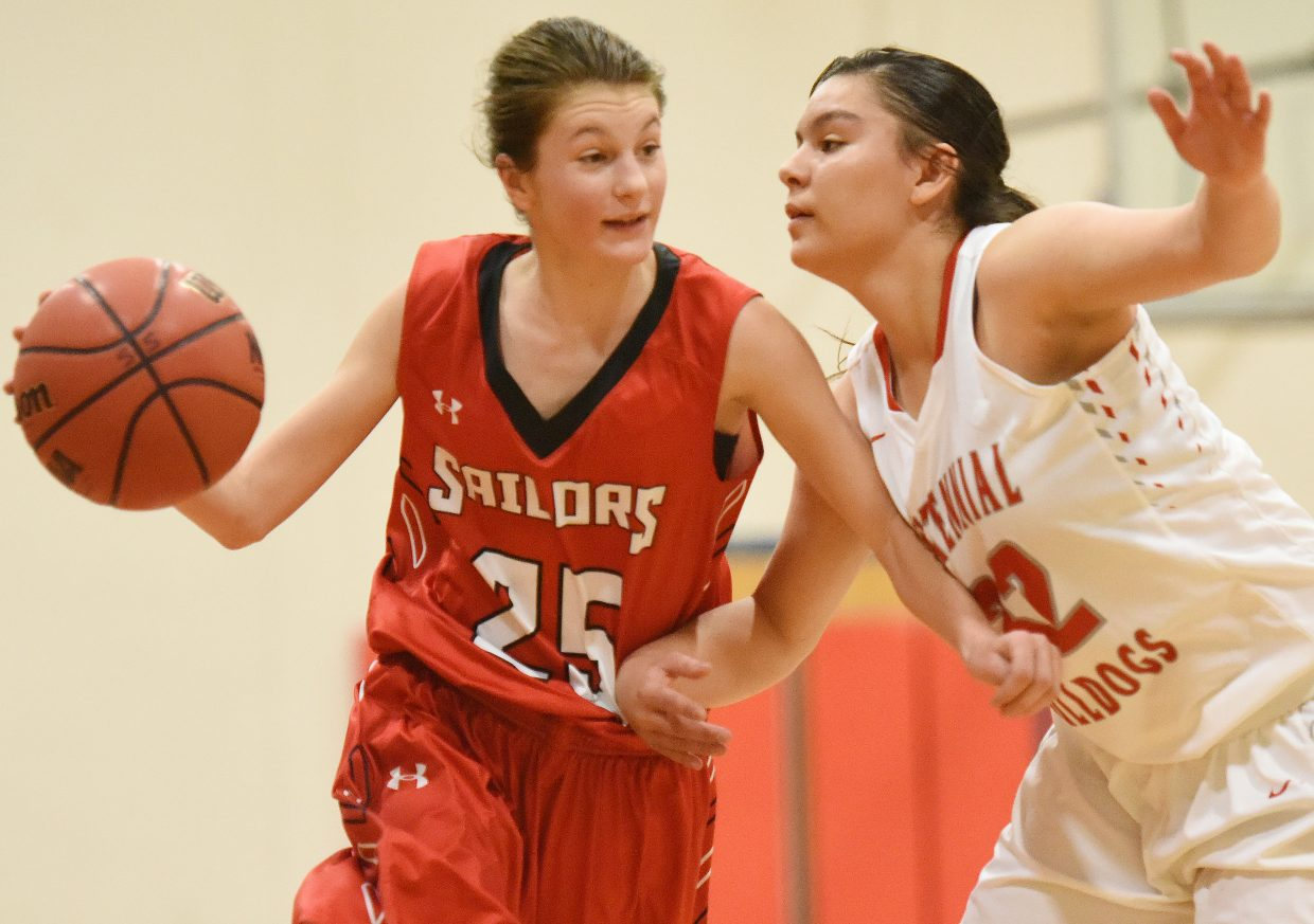 Steamboat's Samantha Kennedy tries to drive the ball up the court Saturday against Pueblo Centennial in the Steamboat Shoot-Out. The Sailors went on to lose the game, 63-21.