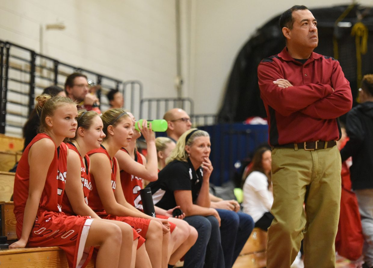 Steamboat coach George Ibarra watches the action Saturday during the Steamboat Shoot-Out.