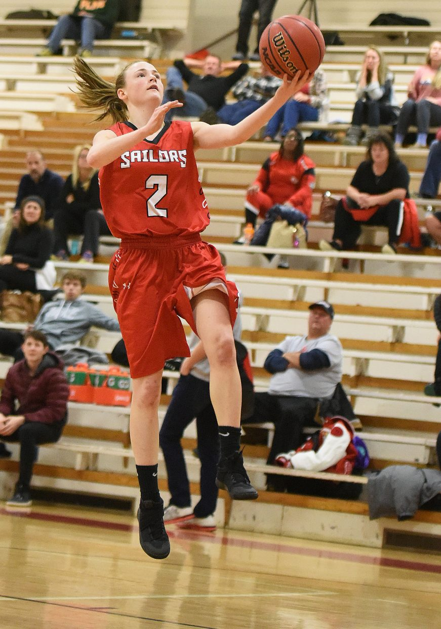 Steamboat's Raya Duryea rises up for a layup Saturday in the Steamboat Shoot-Out.