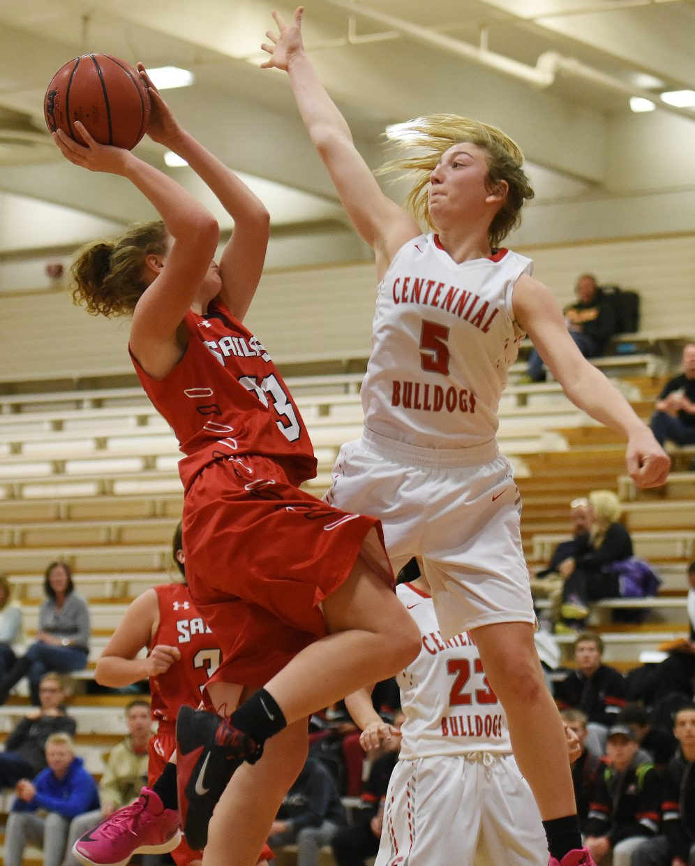 Steamboat's Karly Lanning tries to get a shot by Pueblo Centennial's Cara Siegel on Saturday at the Steamboat Shoot-Out.