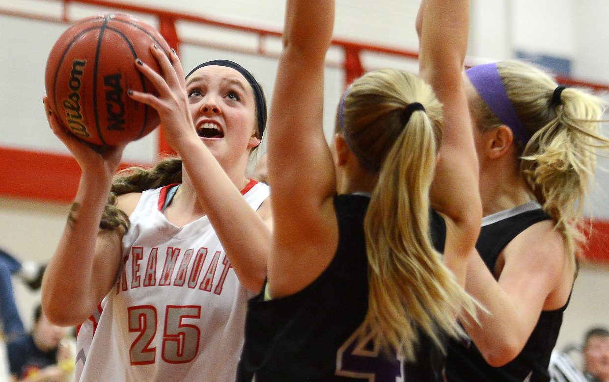 Steamboat's Jenna Miller puts up a shot against Discovery Canyon on Thursday. The Sailors lost, 29-15.