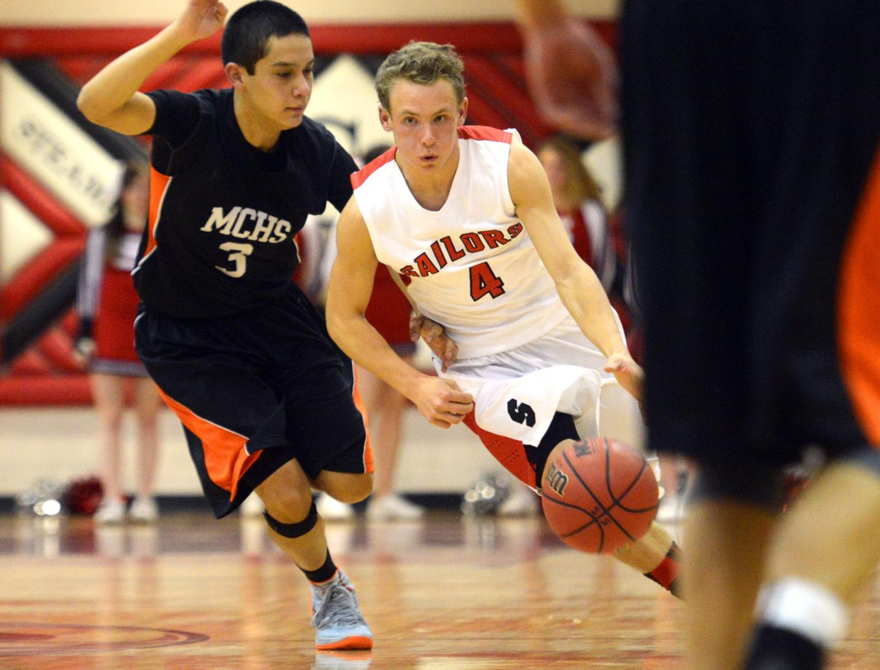 Steamboat's Mitch McCannon streaks down the court Thursday.