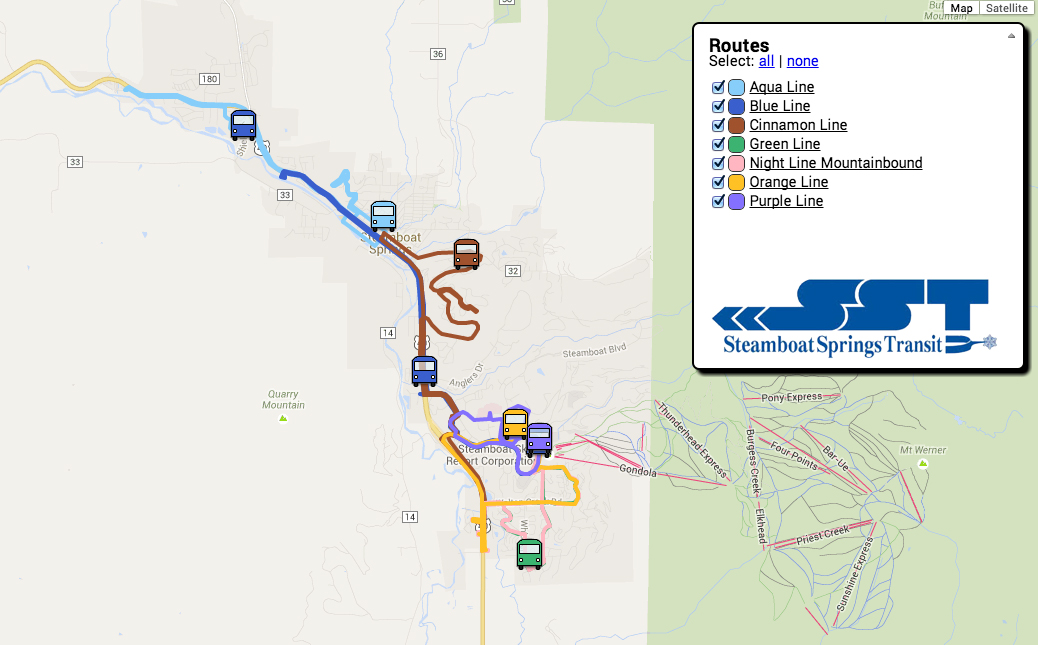 The new map shows the locations of Steamboat Springs Transit buses in real time.