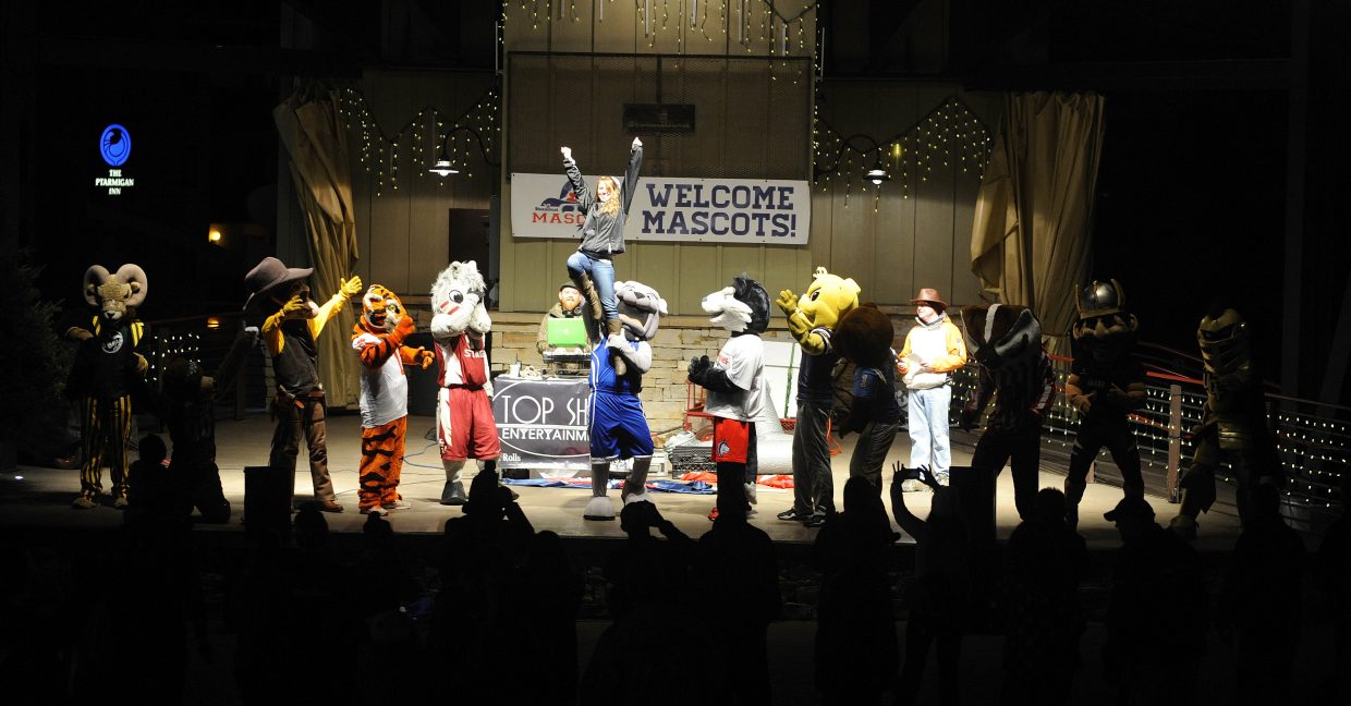 College mascot are introduced Friday night during the Steamboat Mascot Stampede. This year the mascots will have a Mascot Ski and Dance Party from 5:30 to 7:30 p.m.
