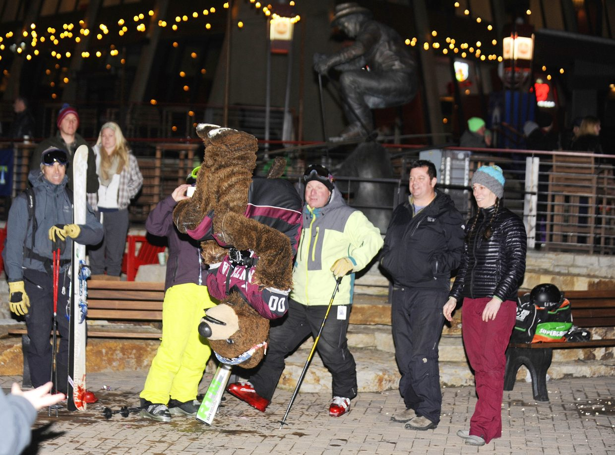 University of Montana mascot Monte does a flip for fans Friday night during the Steamboat Mascot Stampede.