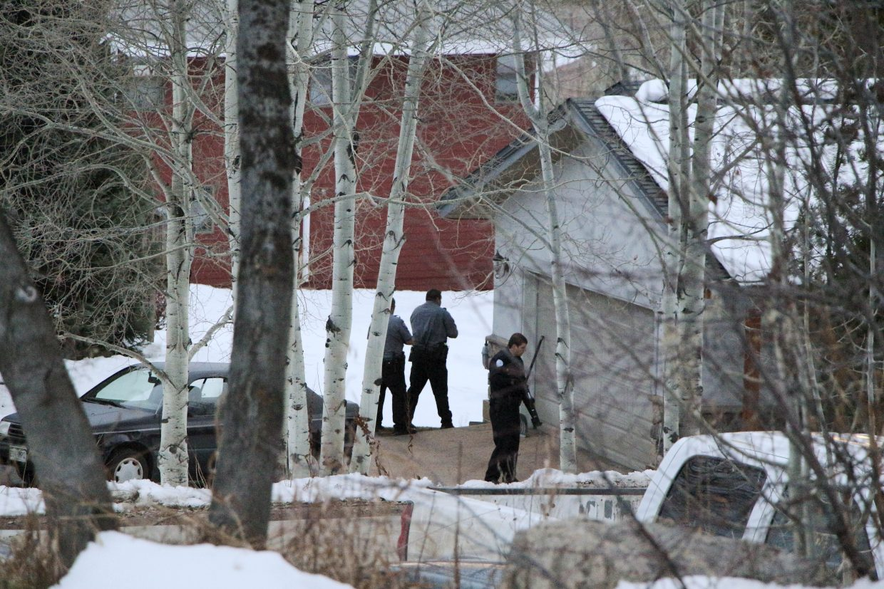 Police surrounded a home on Huckleberry Drive just outside Steamboat Springs city limits Friday during a standoff that involved Routt County SWAT team members.