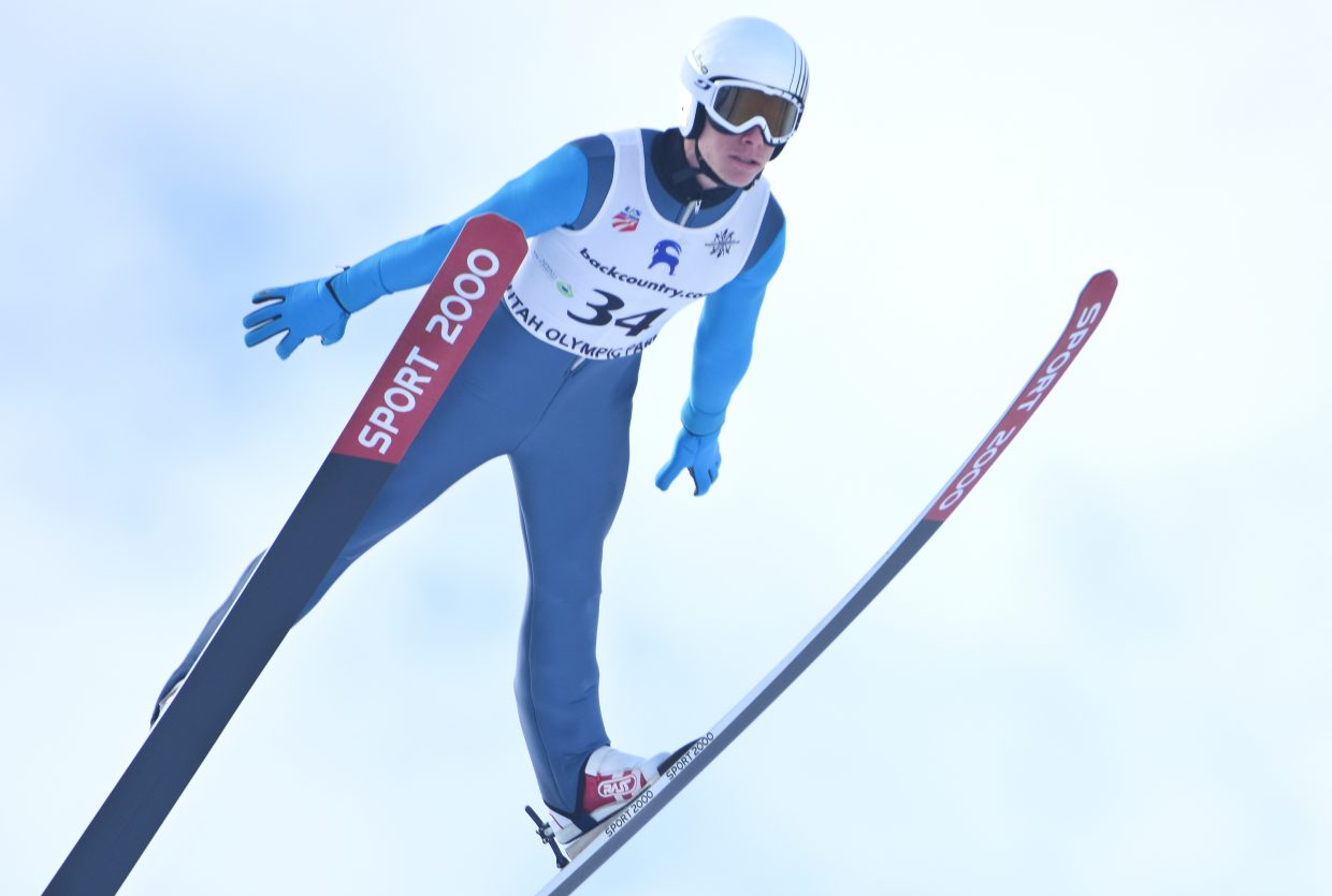 Ben Berend jumps Saturday in a Continental Cup event in Park City, Utah. Berend was fifth after the jumping, then went on to finish eighth.