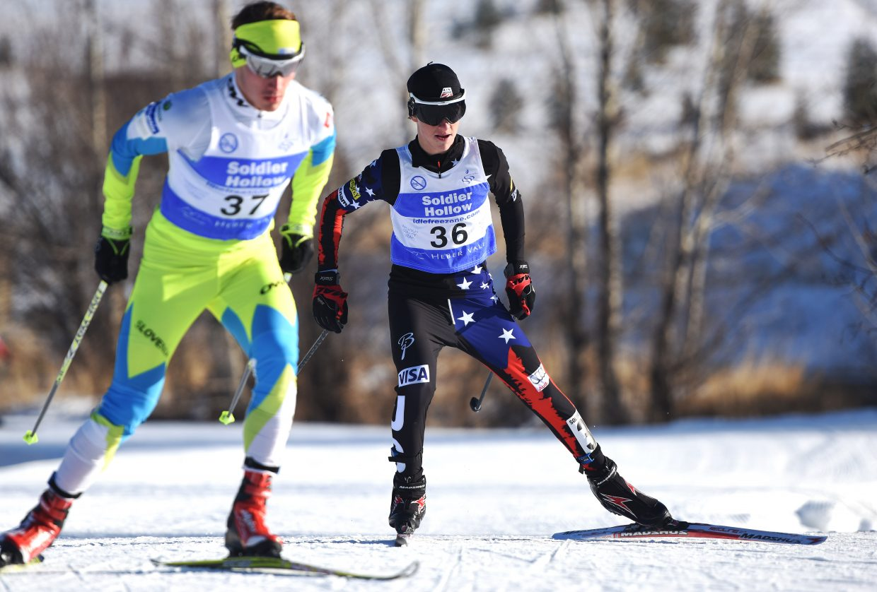 Steamboat Springs Winter Sports Club skier Decker Dean skis Saturday in a Continental Cup Nordic combined event at Soldier Hallow in Utah.