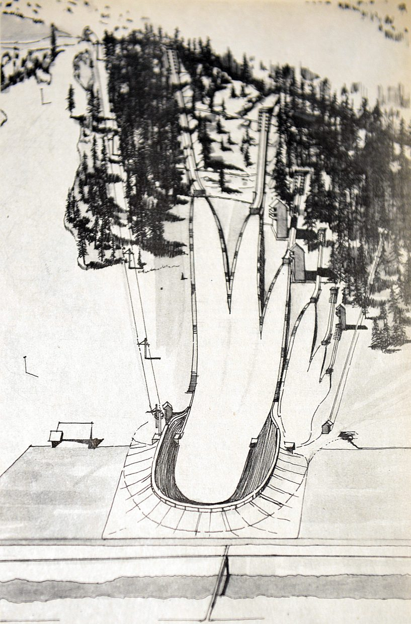 A drawing by Robert Ralston depicts what the jump complex might have looked like if the 1976 Olympic Games had been hosted by Colorado, which appeared on the cover of the May 18, 1972 Steamboat Pilot.