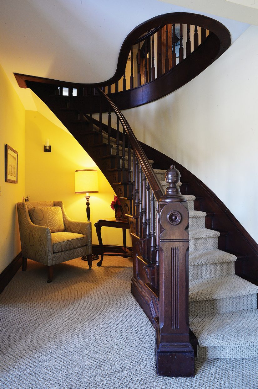 The staircases are dramatic inside the Victorian, which is located at the base of Steamboat Ski Area.