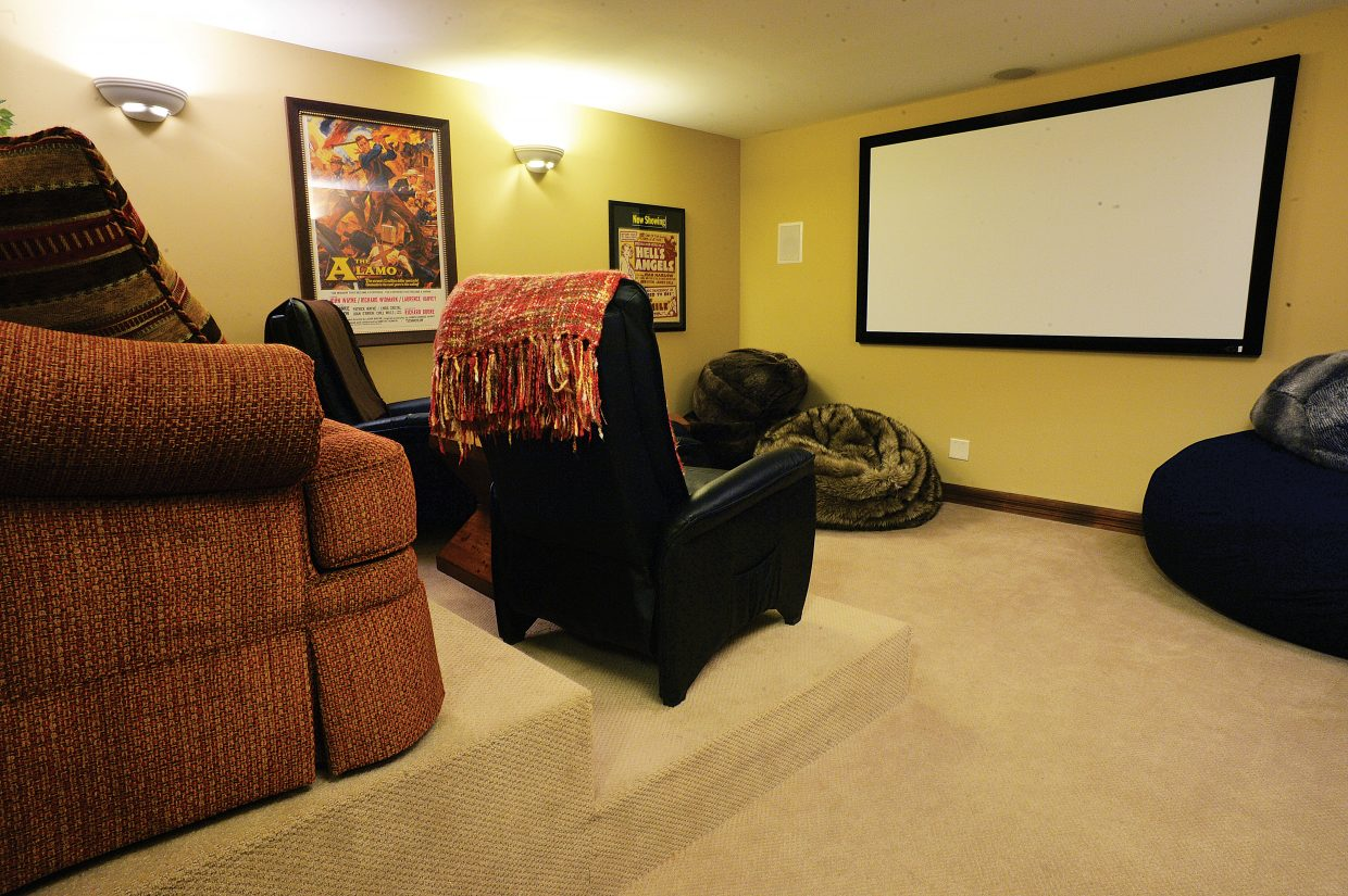 The Victorian bed and breakfast has its own theater to entertain guests.
