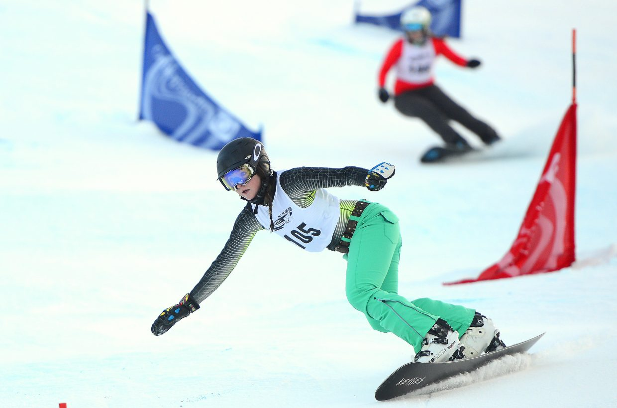 Maggie Carrigan cuts down Howelsen Hill in Saturday's Race to the Cup parallel slalom event in Steamboat Springs. She won the race, her second win in a row.