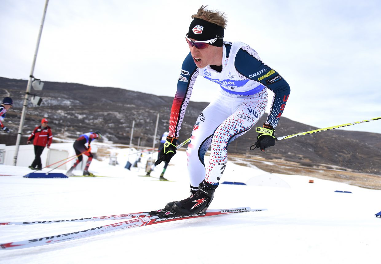 Ben Berend cuts around a corner Sunday during a Continental Cup Nordic combined race in Utah. He went on to finish sixth, capping one of the best weekends of competition of his career.