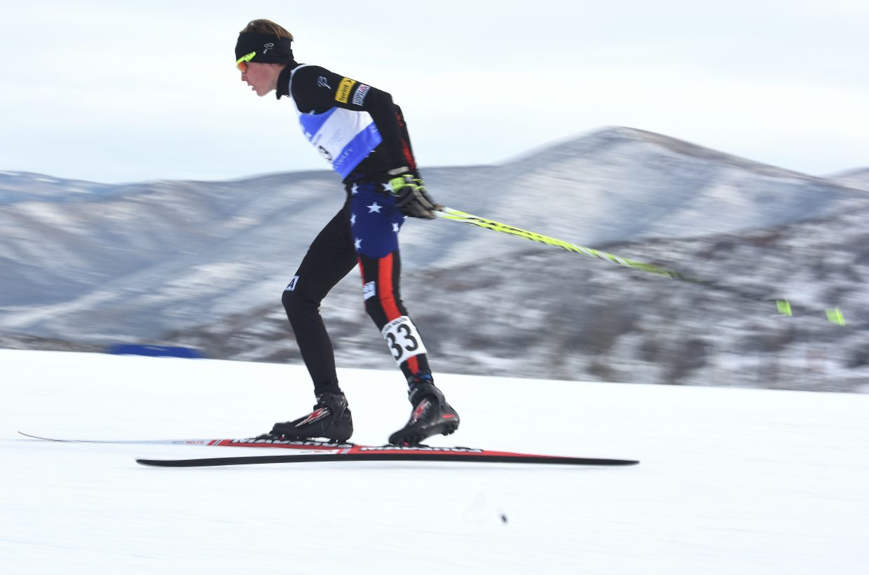 Koby Vargas flies across the trail Sunday at a Nordic combined Continental Cup event at Solider Hollow, Utah.