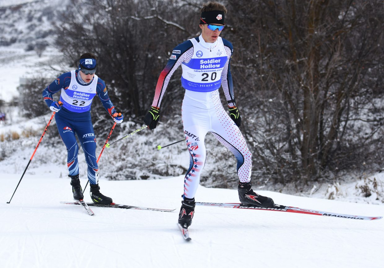 Steamboat Springs skier Jasper Good works his way up the course Sunday at a Continental Cup Nordic combined event at Soldier Hollow, Utah. Good jumped to 20th, then skied up to 15th place.