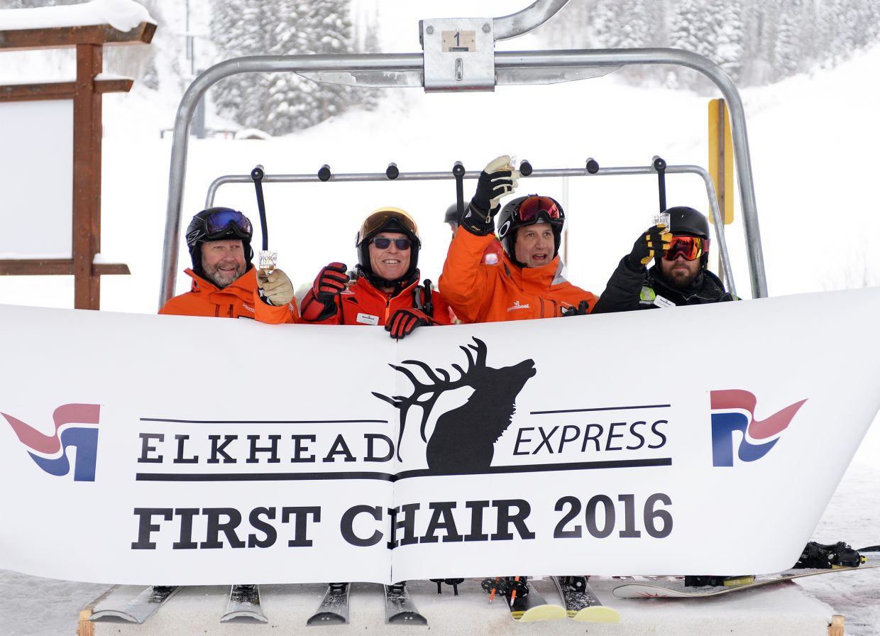 Steamboat Ski and Resort Corp. officials celebrating the inaugural ride up the new high-speed Elkhead Express chairlift on Dec. 14 included Vice President of Skier Services Jim Schneider (left), Director of Skiing Billy Kidd, President and Chief Operating Officer Rob Perlman and master lift mechanic Cory Fleming.