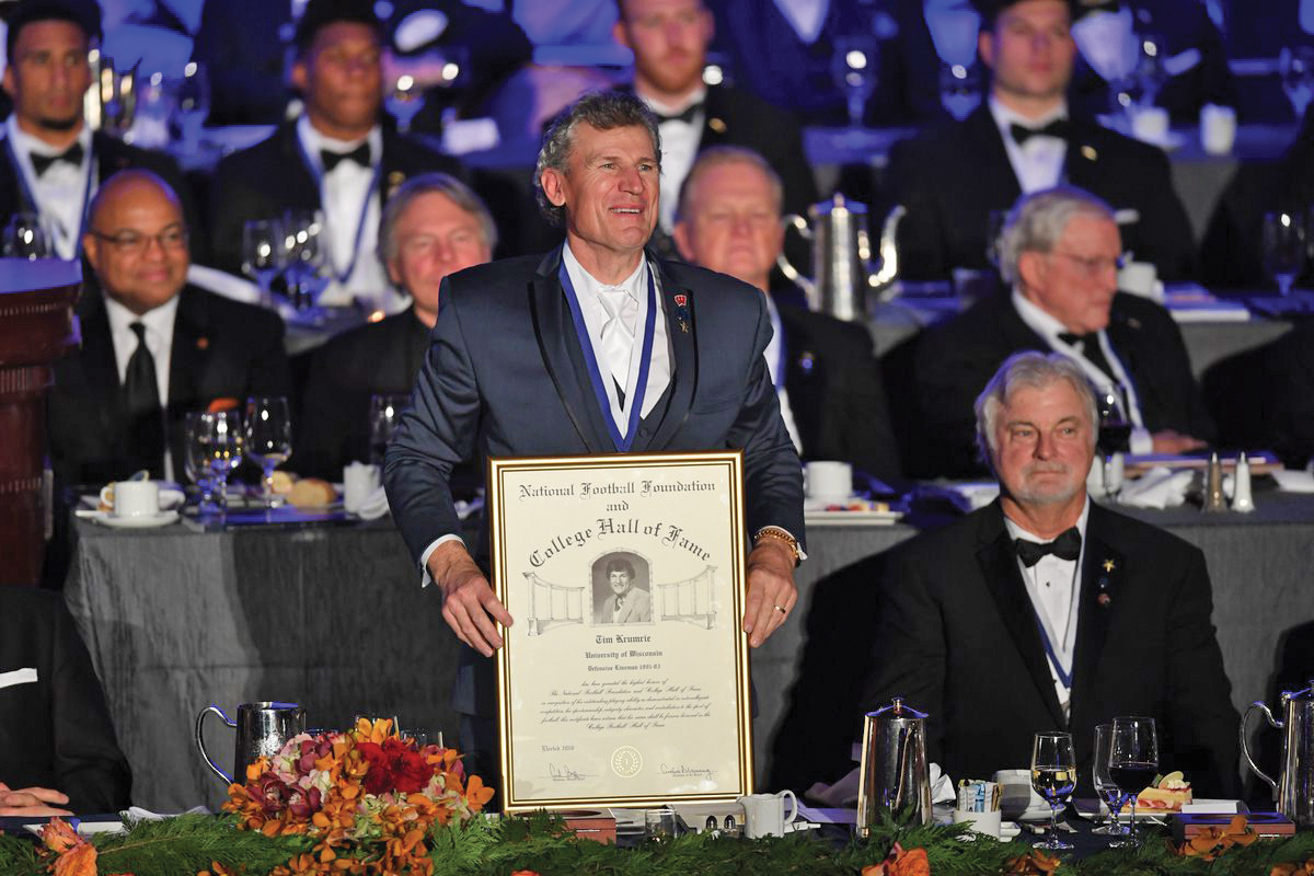 Tim Krumrie was honored by the National Football Foundation as a member of the College Football Hall of Fame's Class of 2016 on Dec. 6. Krumrie played nose tackle for Wisconsin from 1979 to 1982 and went on to play for the National Football League during a career that spanned from 1983 until his retirement in 1994. He is the ninth Badger to enter the College Football Hall of Fame.