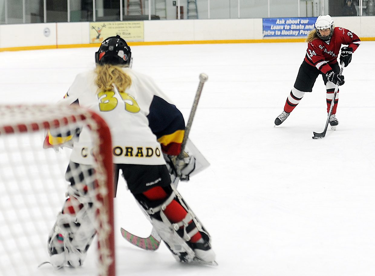 Steamboat's Libby Lukens takes aim at the Colorado Junior Eagles goaltender Sunday during a shoot-out in the U14 championship match. Steamboat lost the penalty shot round, 2-1, as the Eagles won the annual Adele Dombrowski tournament.
