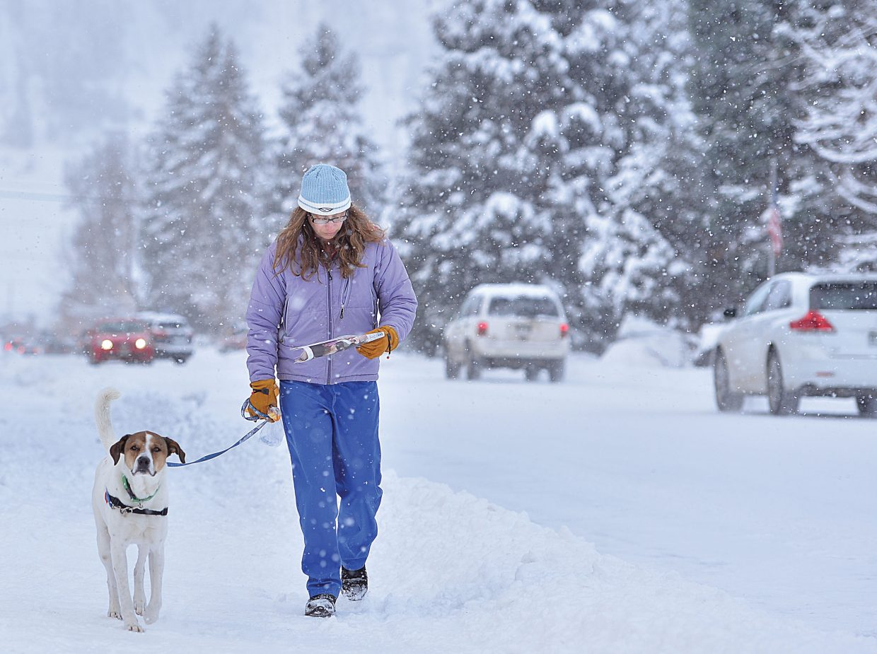 Steamboat Springs resident Robin Soifer enjoys the newspaper while walking her dog through the falling snow in downtown Steamboat Springs on Monday morning.