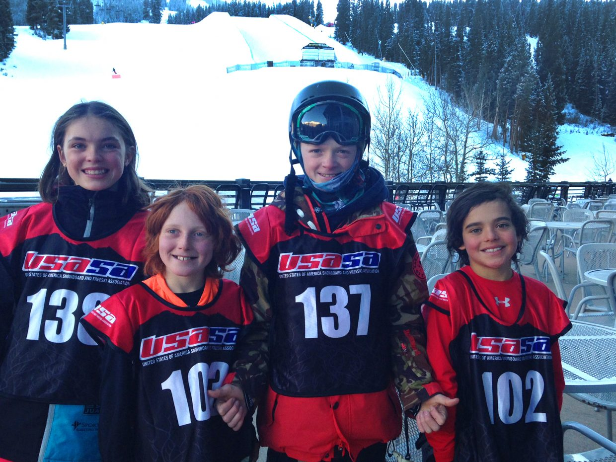 Riley Jacobs, Wiley Wagner, Liam Baxter and Cael McCarthy all had solid results from a half-pipe freestyle skiing competition at Copper Mountain on Saturday.