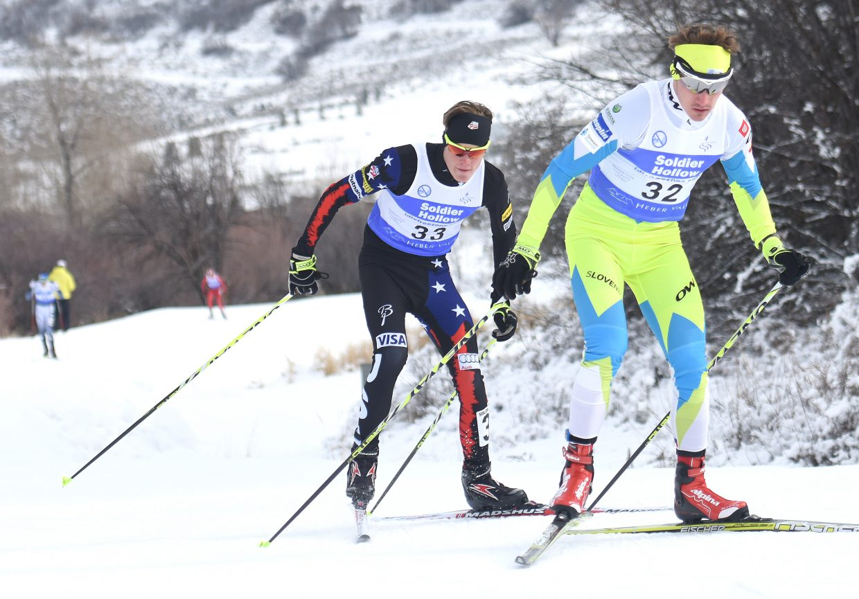 Steamboat Springs skier Koby Vargas sticks with a competitor Sunday in a Continental Cup Nordic combined event at Solider Hollow, Utah.