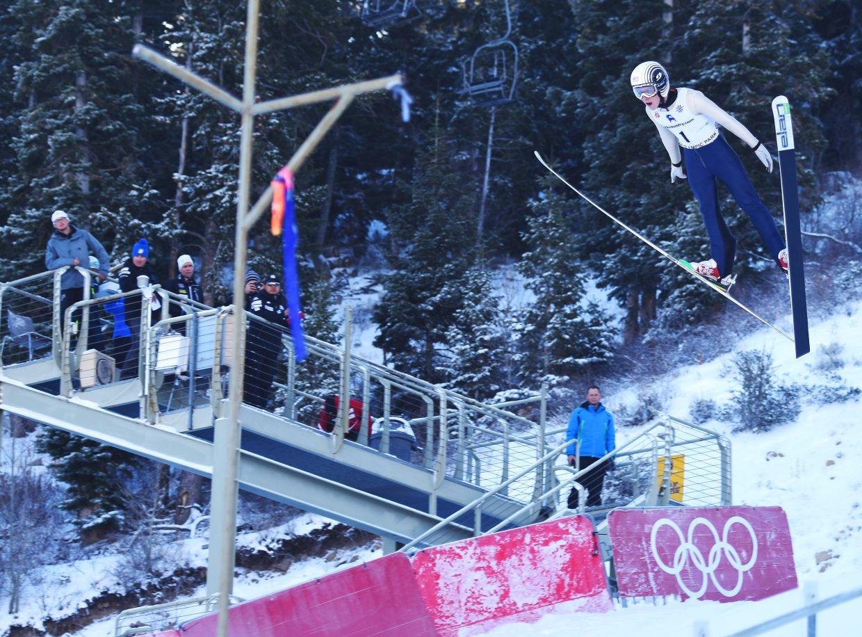 Steamboat Springs ski jumper Decker Dean flies Saturday in a Continental Cup Nordic combined competition in Park City, Utah. It was Dean's first taste of that level of international competition.