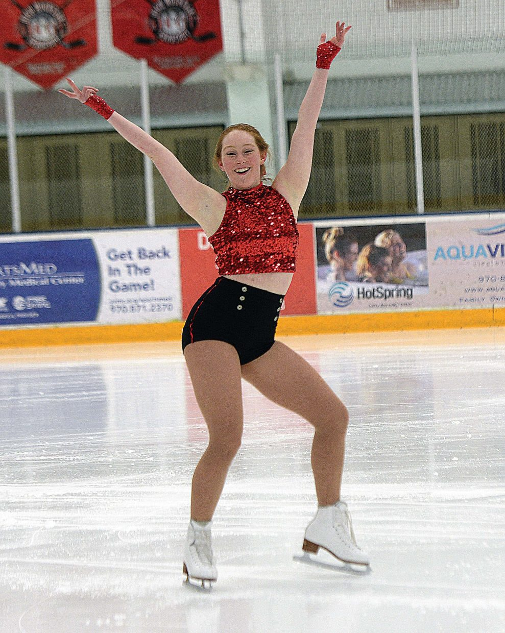 Ice skater Annmarie Hackworthy runs through her routine for the 2016 Holiday Exhibition, which will take place at 6 p.m. Sunday at Howelsen Ice Arena. The show features 18 skaters from the Steamboat Springs Figure Skating Club performing to holiday classics.