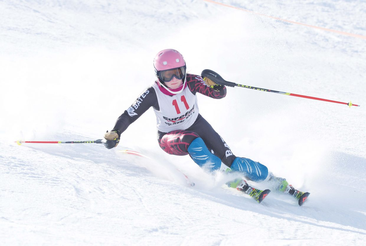 Steamboat Springs ski racer Serina Kidd negotiates the gates during her second run on the first day of the SureFoot Holiday Classic at Howelsen Hill. Kidd, who now races for the University of Denver, placed third in Monday's race, which was won by Buck Hill's Rosie Hust.