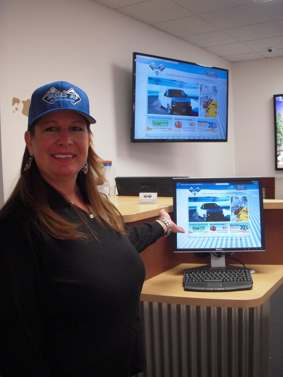 Cindy Patten shows off Black Tie Ski Rental's new kiosk at Yampa Valley Regional Airport. Patten is the manager for the kiosk, which will have two additional dedicated staff members.